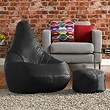 Bean Bag Bazaar High Back Chair and Footstool Combo - Black, 113cm x 50cm - Indoor Outdoor Water Resistant BeanBag
