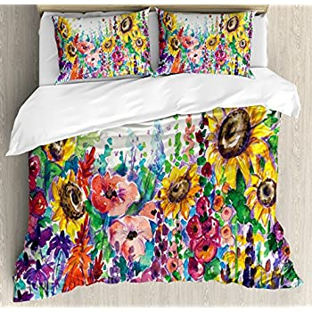 Image of Ambesonne Floral Duvet Cover Set, Floral Watercolor Style Wildflowers in Country Lansdcape Colorful Flowers Art Print, Decorative 3 Piece Bedding Set with 2 Pillow Shams, Queen Size, Dark Indigo Home and Kitchen