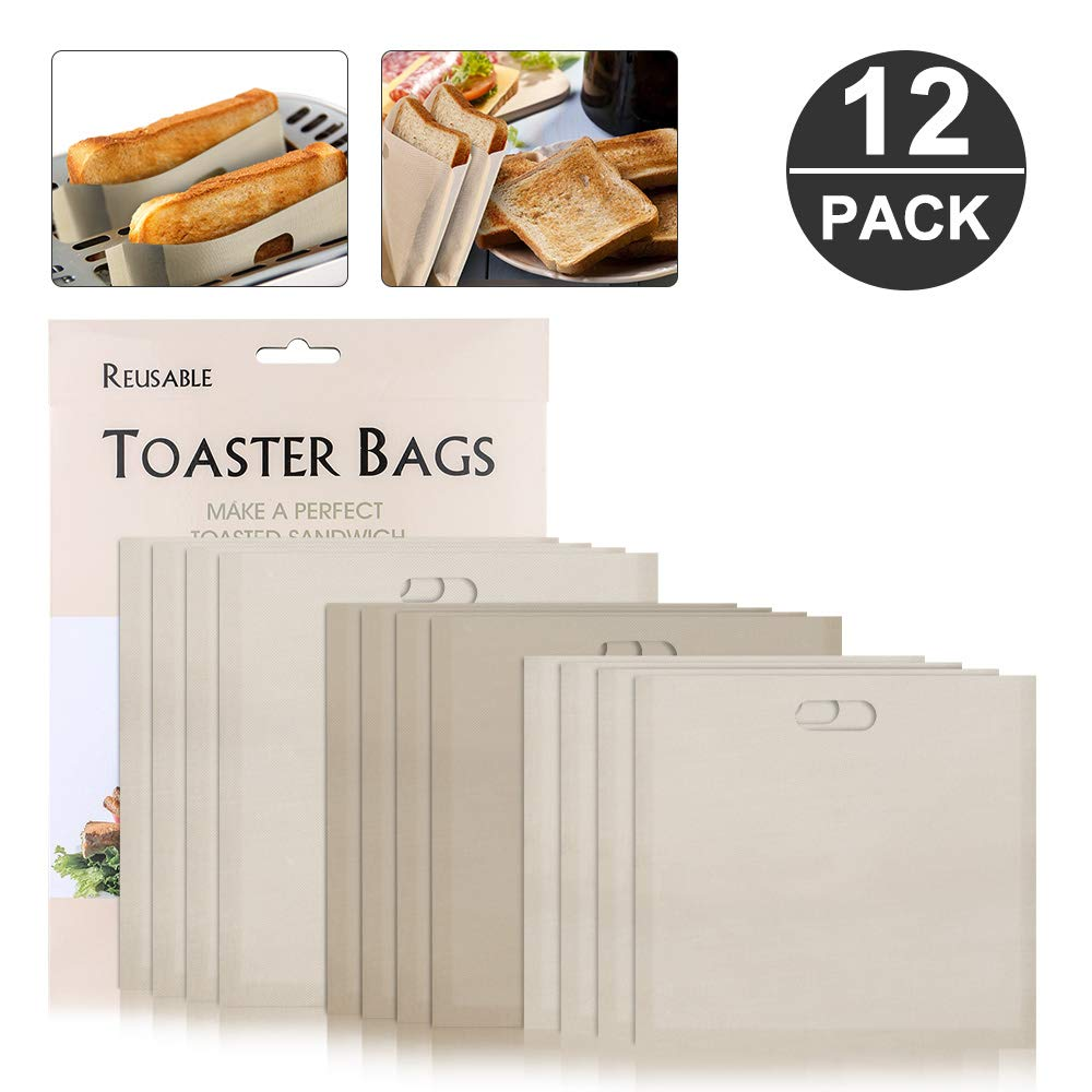 Toaster Bag, Furado 12 Pack Non Stick Reusable Toaster Bags for Grilled Cheese, 100% BPA & Gluten Free, FDA&LFGB Approved Bread Sandwich Toaster Bags for Pizza, Snack, Barbecue