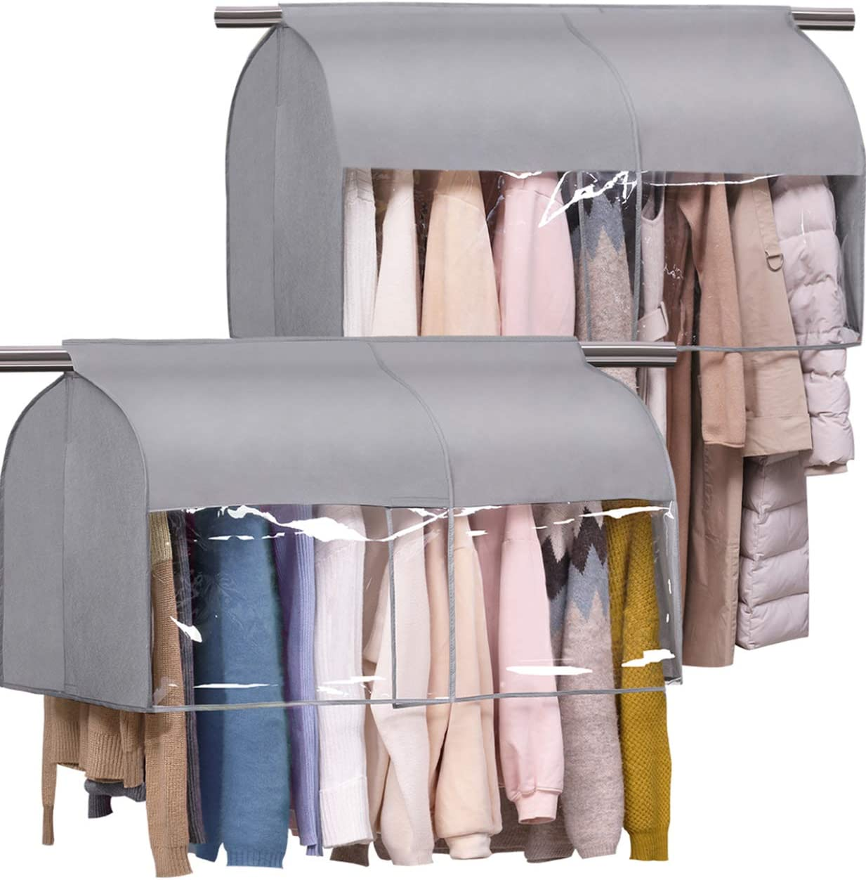 SLEEPING LAMB Hanging Closet Cover for Clothes Storage Expandable Garment Rack Cover with Clear PCV Window Dust Shoulder Cover Protector for Suit Coat Jacket, 2 Packs, Grey
