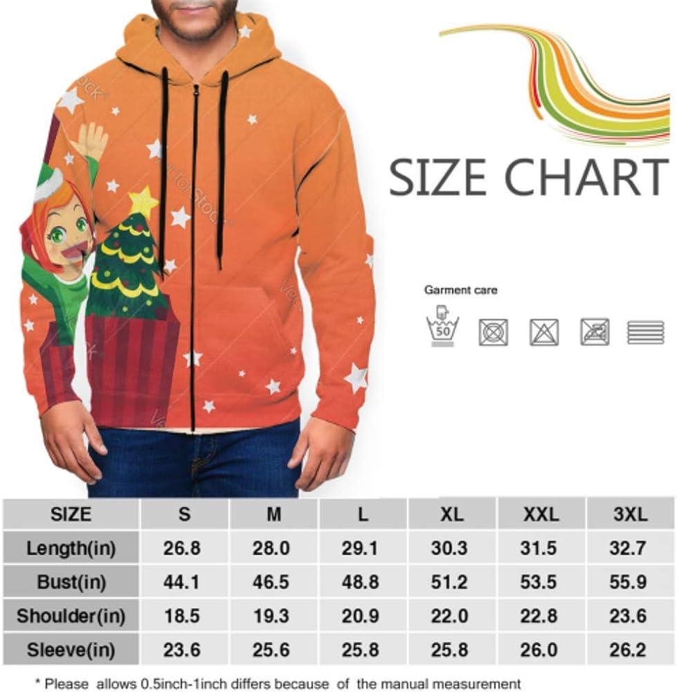 CHQTG Long Sleeve Hoodie Print Christmas Girl Jacket Zipper Coat Fashion Mens Sweatshirt Full-Zip S-3xl