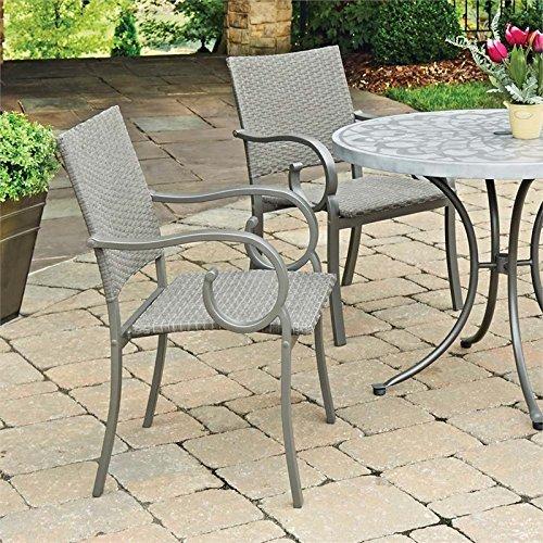 Capri Gray Outdoor Patio Arm Chair Pair by Home Styles (Capri Arm Chair)