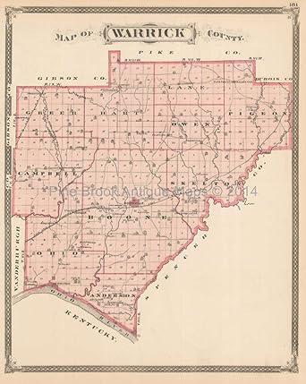 Warrick Spencer County Indiana Antique Map Baskin 1876 Original