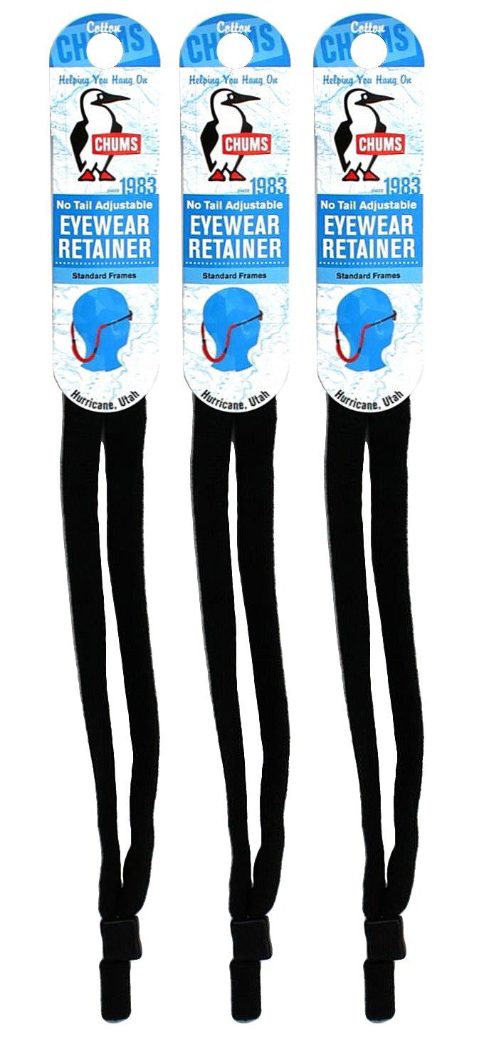 Chums No Tail Adjustable Eyewear Retainer, Black (3 Pack)