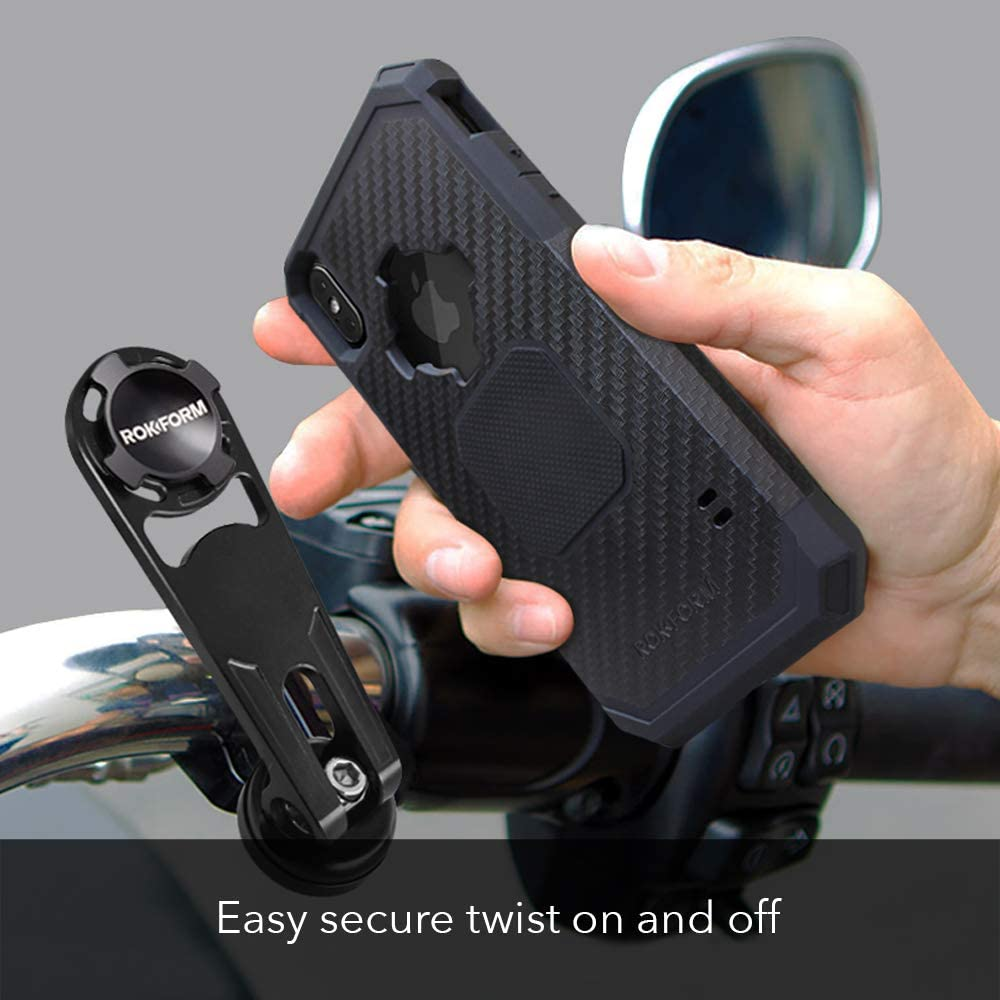 Twist Lock /& Magnetic Mounting Rokform Pro Series Motorcycle Mount Kit and Rugged Case CNC Machined Aluminum Black Galaxy S8