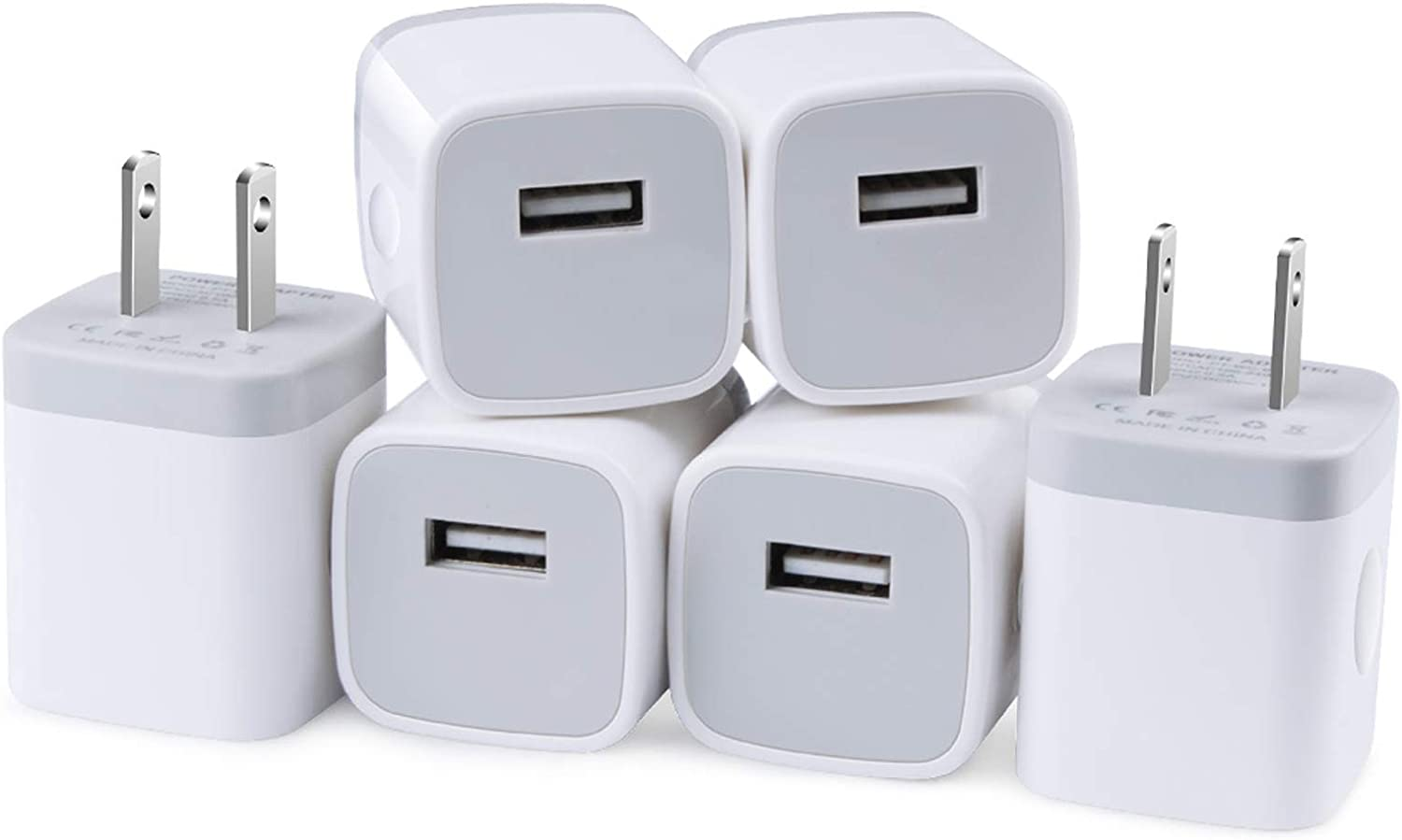 USB Wall Charger, 6 Pack 1A/5V One-Port USB Cube Power Adapter Charger Wall Plug Charging Block for iPhone 12 11 Pro Max, XR/Xs/X, 8/7/6/6S Plus, iPad, Samsung Galaxy, HTC, LG, P40 Pro+, Pixel, Moto