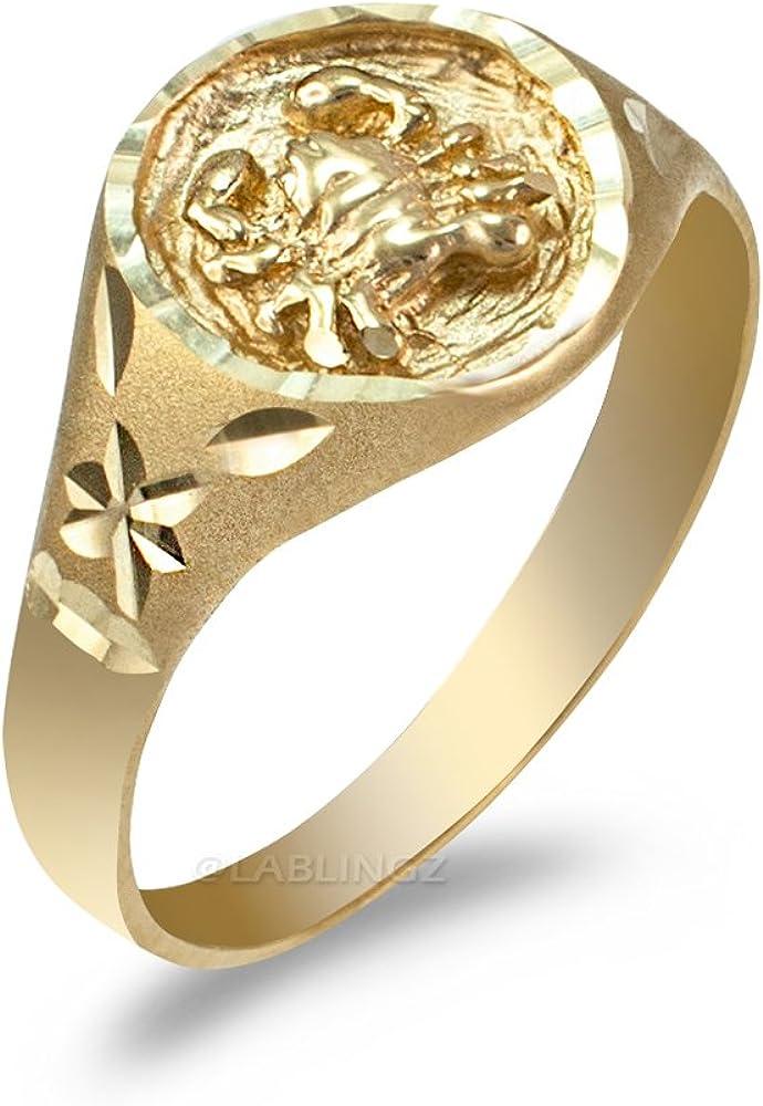 10K White Gold Satin DC Band Womens Cancer Zodiac Ring