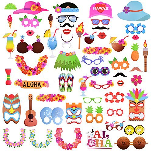 Luau Hawaiian Photo Booth Props Kit For Summer Holiday, Beach Pool Party Decoration Supplies-60 Kits