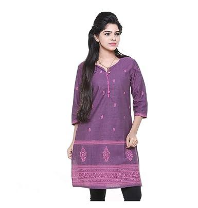Cross Colors Lavender Womens Top Silk Jacquard Cotton Kurti Womens