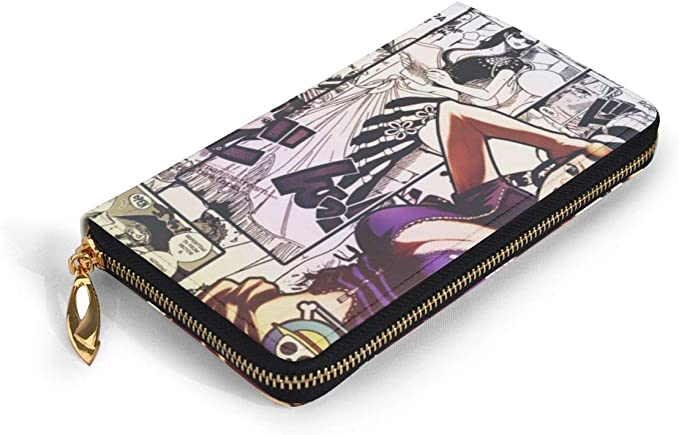 One Piece Nico Robin RFID Wallet Blocking Genuine Leather Wallet Zip Around Card Holder Organizer Clutch Wallet Large Capacity Purse Phone Bag For Men Women