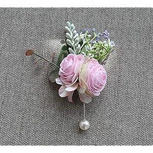 MOJUN Artificial Tea Rose Flower Brooch Pins Groom Boutonniere Wedding Party Man Suit Flowers Decoration, Pack of 1, Light Purple 38