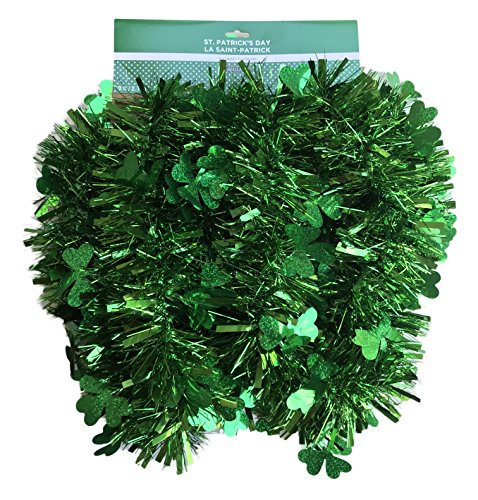 st. patrick's day Happy Tinsel 9 Foot Green Garland Decoration with Green Clovers by st. patrick's day