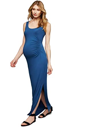 2853323a80697 A Pea in the Pod Side Ruched Maternity Dress Blue at Amazon Women's  Clothing store: