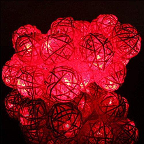 CZYCO Rattan Lantern Night Light Season Rope Light Bar Decoration,20 LED Rattan Ball String Light Home Garden Fairy Lamp Wedding Party Xmas Decor (Red) (Three Light Blossom)