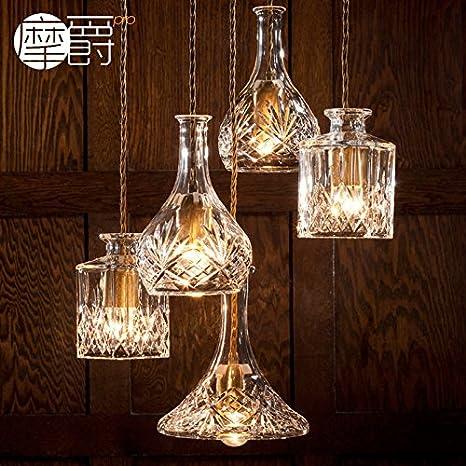 JJ moderno aparejo de luces LED colgante Estilo Europeo American Crystal botella de cristal grabado ornamental