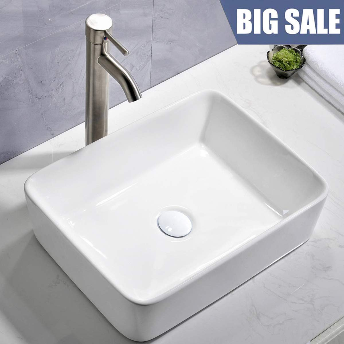 Comllen Counter White Porcelain Ceramic Bathroom Vessel Sink Art Basin