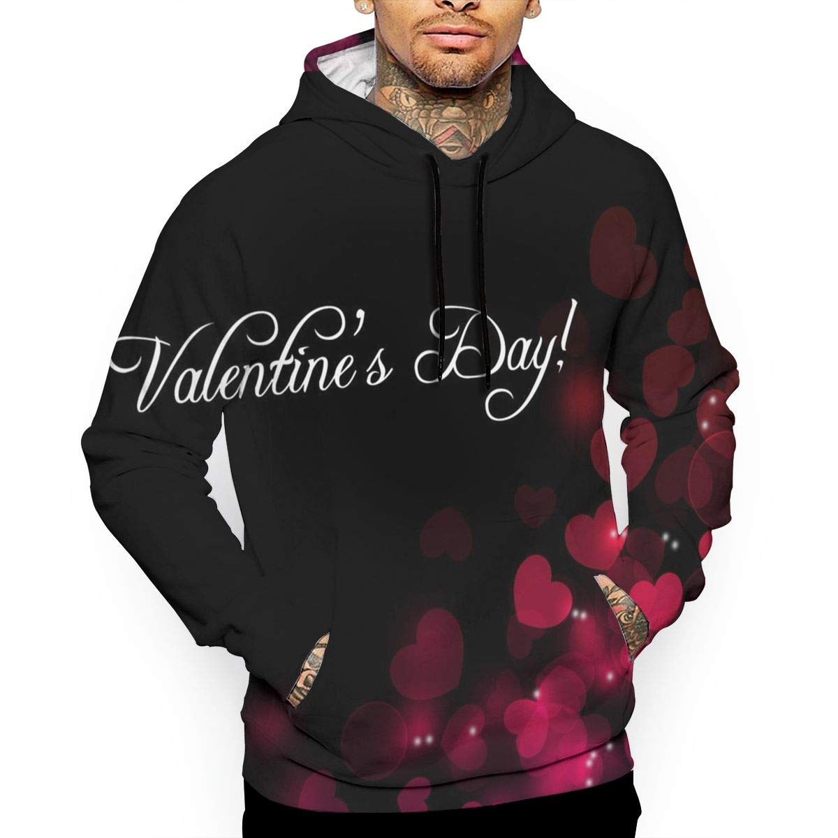 Beautiful Valentine T-Shirt Hooded with A Pocket Rope Hat Customization Fashion Novelty 3D Mens