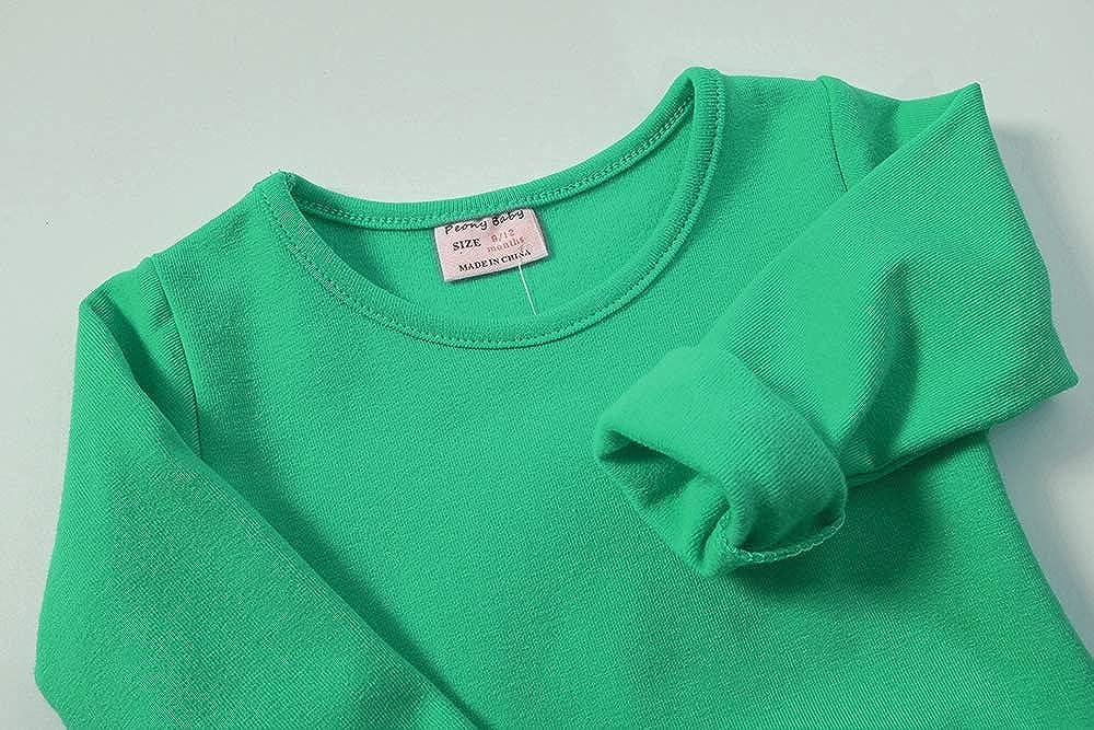 Daiermeng Baby Girls Dress Short Sleeves Cotton Casual Skirt Ruffled Pullover 6-48m