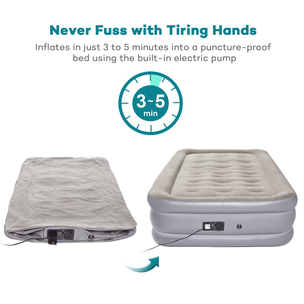 Sable Queen Size Air Mattress with Built-in Electric Pump Upgraded Inflatable Airbed for Camping Travelling Height 20 Overnight Guests
