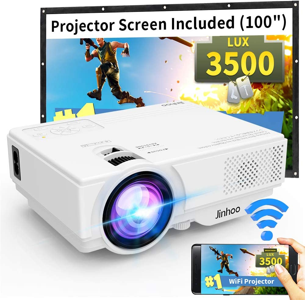 "WiFi Mini Projector, Jinhoo 2019 Latest Update 3500 Lux [100"" Projector Screen Included] HD Home Theater Systems Supported 1080P with 176'' Projector Size Compatible with TV Stick, HDMI, USB, SD, VGA"