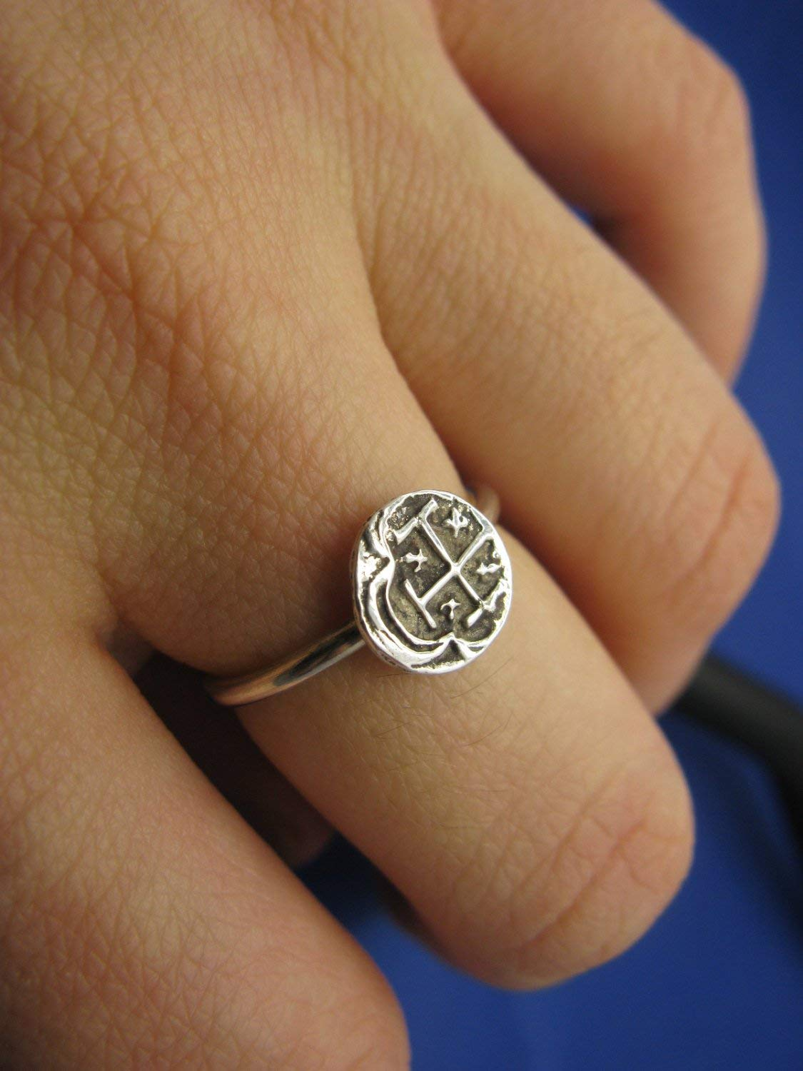 Ladies Sterling Silver Nautical Shipwreck Treasure Stack Ring with Replica Pirate Coin Designed and Handcrafted by Florida Artist