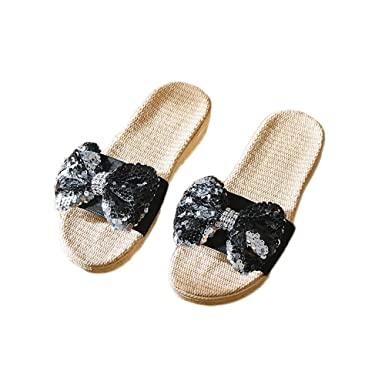 b03d475ec012a Amazon.com: Slippers Summer Women Men Unisex Anti-Slip Linen Home ...