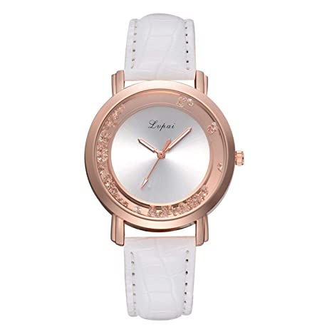 Amazon.com : liberalism Vintage Quicksand Bead Ladies Watch Casual Female Leather Quartz Wrist Watch Rose Gold Women Watches Relojes para Mujer(Black, ...