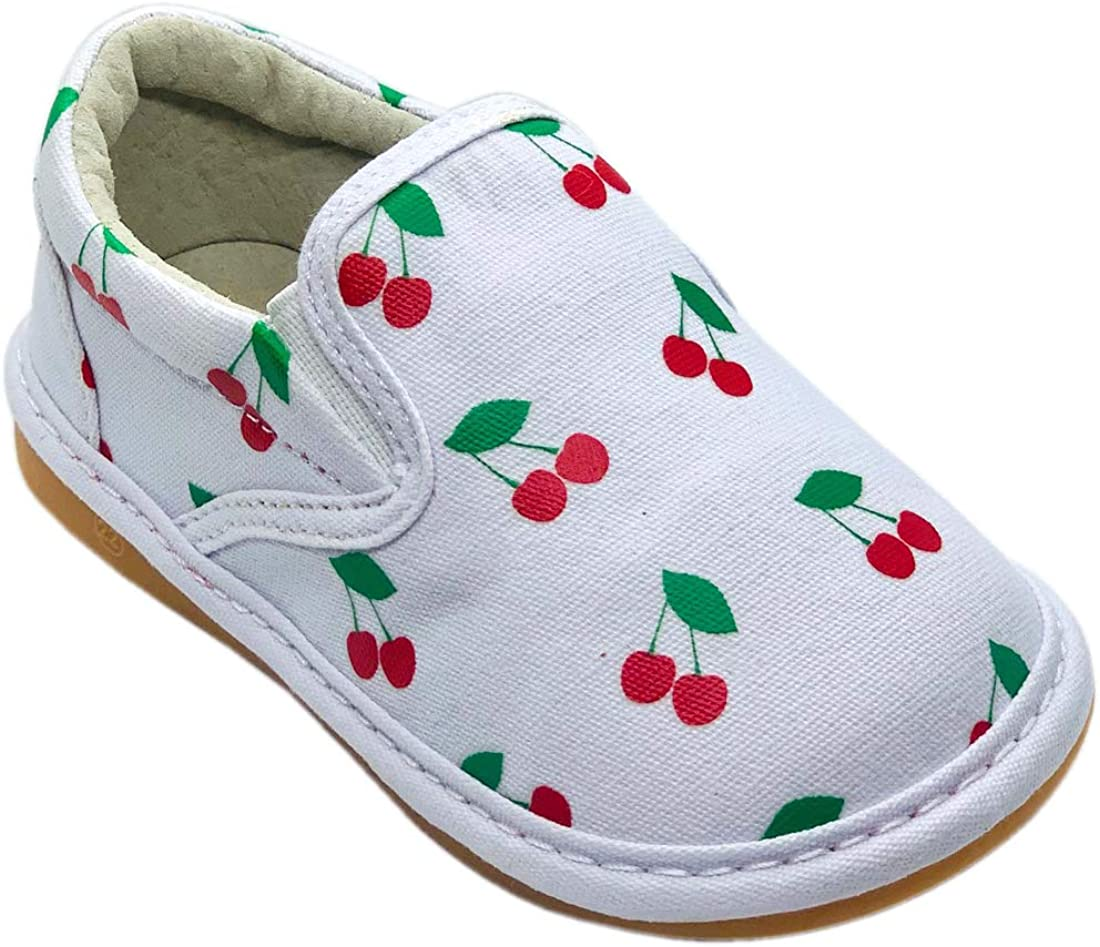 Squeaker Sneakers Cheska Cherry Slip On, Squeaky Shoes for Toddlers with Removable Squeaker