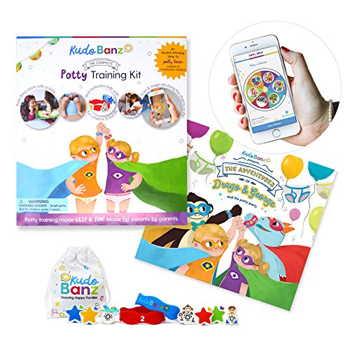 Kudo Banz Potty Starter Kit - Effective and Award Winning Positive Reinforcement Tool for Potty Training. Includes Storybook, 2 Banz, 4 Kudos, 3 Magical Kudos, Free-App, and More by Kudo Banz
