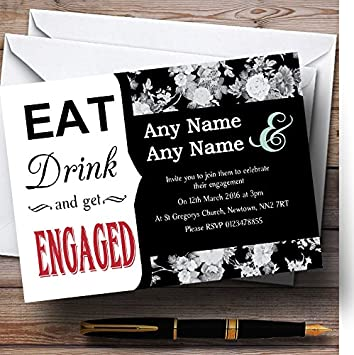 black rose eat drink personalised engagement party invitations