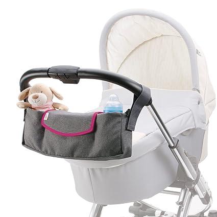 DIAGO 30072.75277- Organizador para carrito de bebé, color gris y rosa