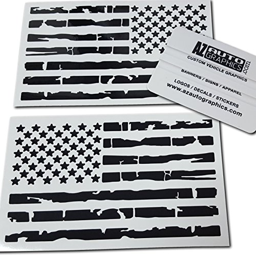 (Az Auto Graphics Pair US Distressed American Flag Decal Sticker Die-Cut Grunge Car Truck Subdued Tattered Military (Black))
