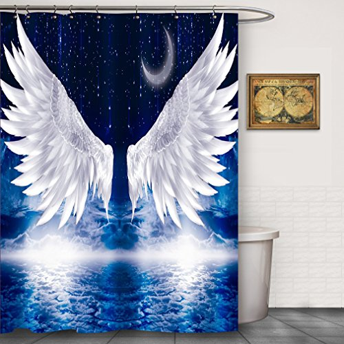 angel wings shower curtains moon
