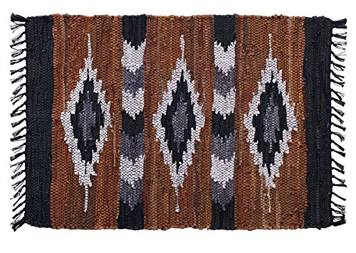 HF by LT Snake River Canyon Handwoven Leather Rug, 24