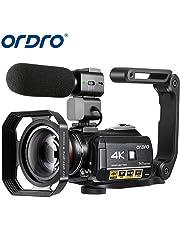 4K Camcorder, ORDRO 4K Ultra HD Camcorder Videokamera 1080P 60FPS WiFi Video Kamera mit IR Nachtsicht, Pausenfunktion, 30X Digitalzoom, Mikrofon, Weitwinkelobjektiv