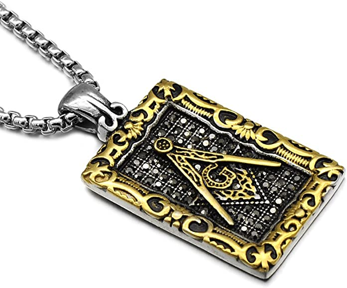 Amazon.com: ezsona Hombre Acero Inoxidable Freemason Símbolo ...