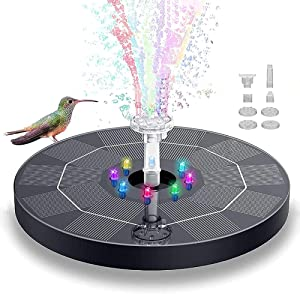 QPP-CL Solar Fountain Pump for Bird Bath Solar Water Pump 3w Floating Fountain with 8 LED Lights 6 Nozzles Suitable for Garden Pond Pool Decoration