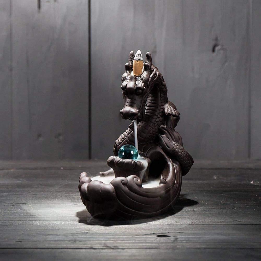 Incense Holder Ceramics Dragon Backflow Incense Burner, Cone Stick Incense Holder Home Decor Aromatherapy Ornament + 10 Cone Incense Free by FENBEN (Image #4)