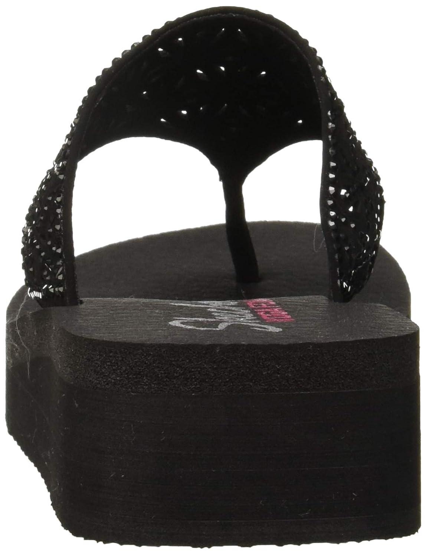 f76f25c204d2 Amazon.com  Skechers Women s Vinyasa-Glass Star-Laser Cut Rhinestone Flip  Flop  Shoes