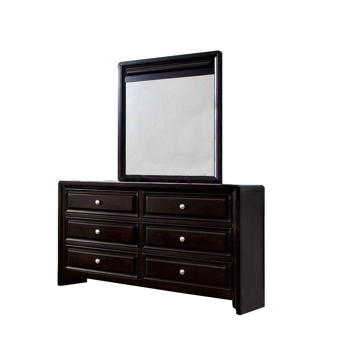 Amazon Com Furniture Of America Melbourne 6 Drawer Dresser And Mirror Set Espresso Finish Kitchen Dining