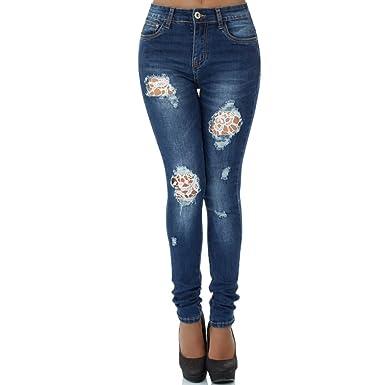 0cd897d4a9980b Malucas Damen Jeans High Waist Hose Röhrenjeans Skinny Röhrenhose Slim Fit  Stretch 359, Größe: