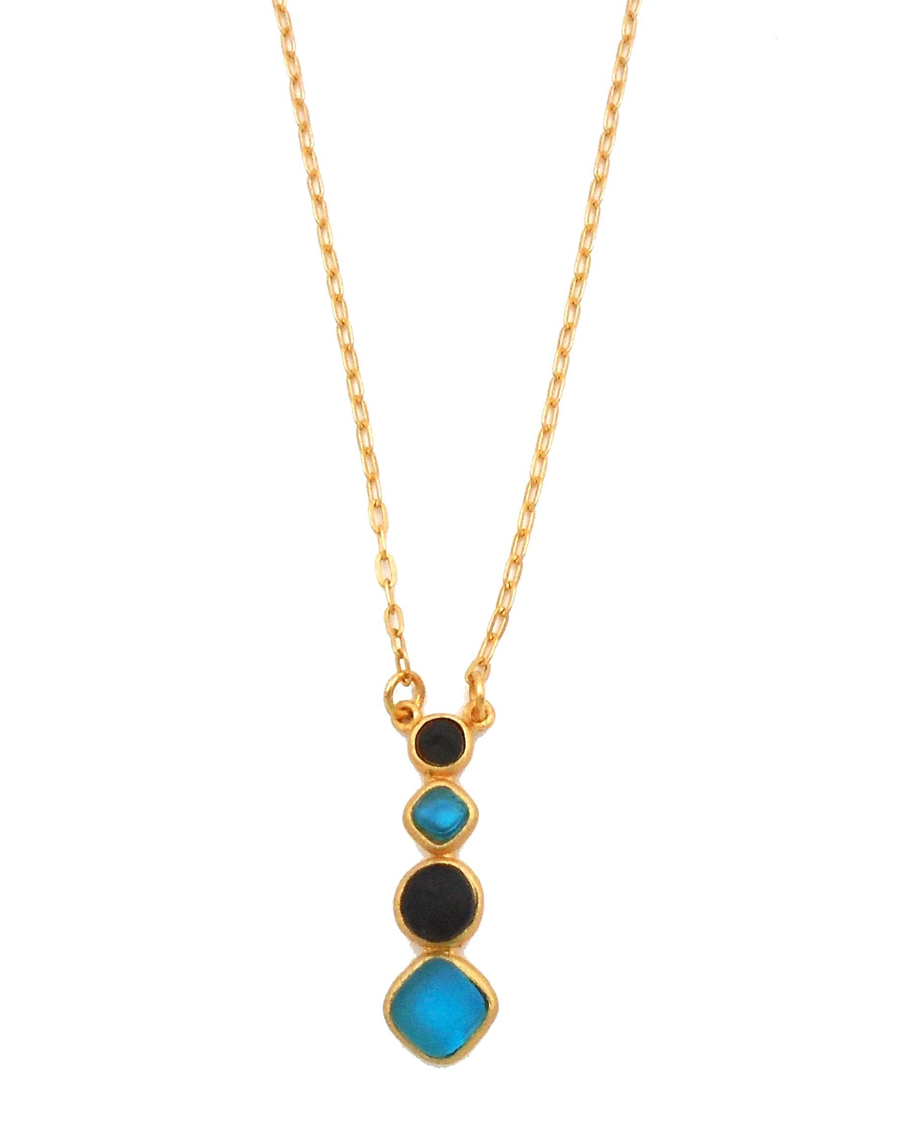 Michael Vincent Michaud- Glass ''Multi Stone Diamond Pendant Necklace'' in Turquoise/Black by Michael Vincent Michaud