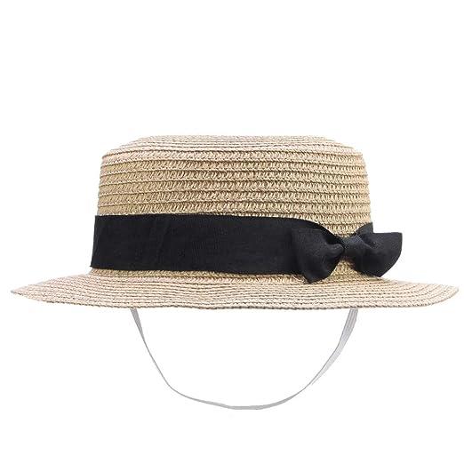 94691acb6 IFSUN Straw Sun Hat Kids Boy Girls Boater Summer Beach Cap Bucket Hat