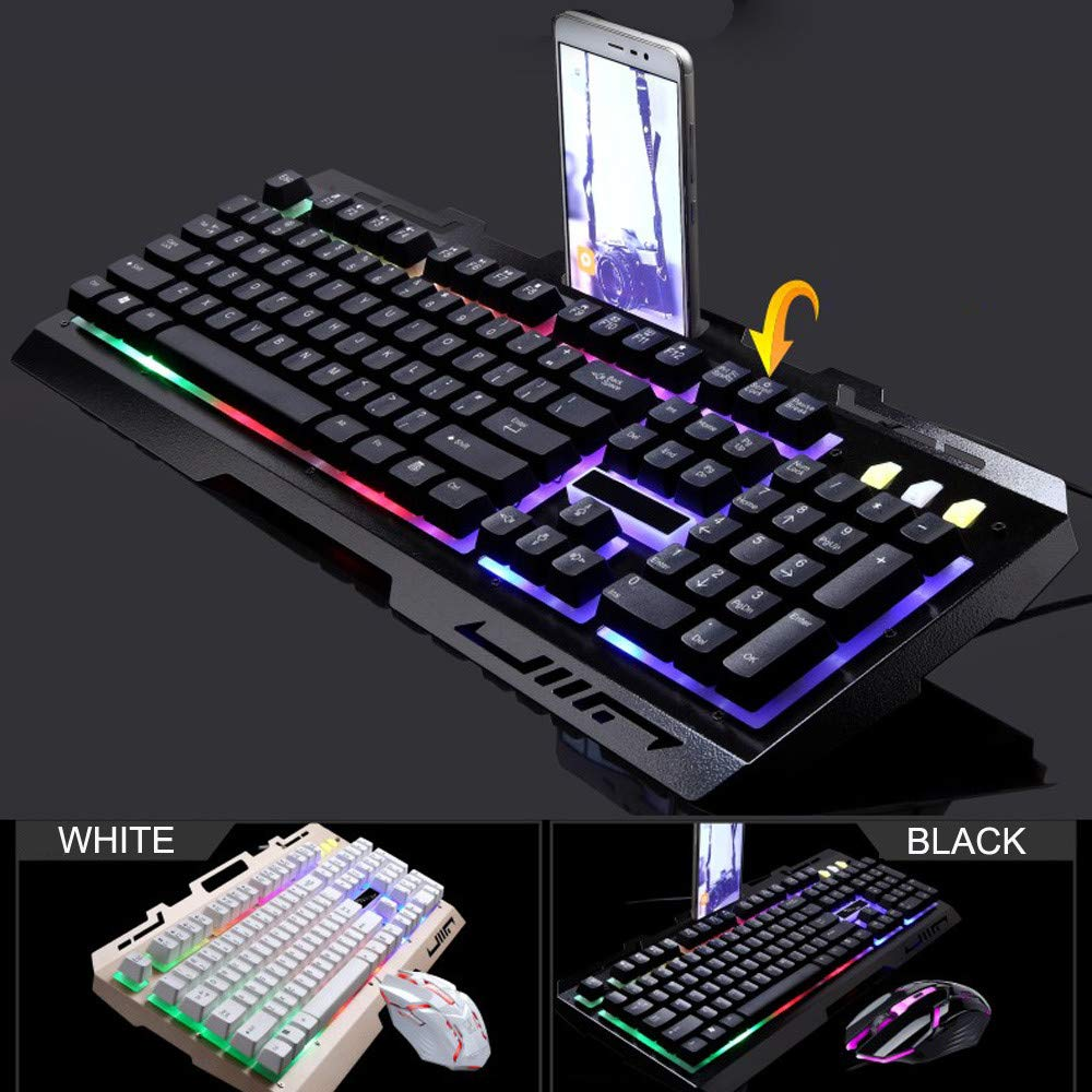 Hisoul G700 LED Rainbow Keyboard, 104 Keys Color Backlight USB Wired Keyboard with Mouse - for LOL/PUBG/Fortnite/Wow/Dota/OW Gamer (Black) by Hisoul (Image #4)