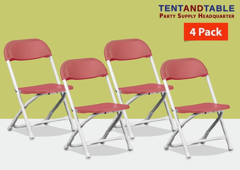 Red Poly Plastic Kids Lightweight Heavy Duty 220-Pound Capacity Stackable Folding Classroom, Event, Banquet, and Wedding Chairs (4-Pack)
