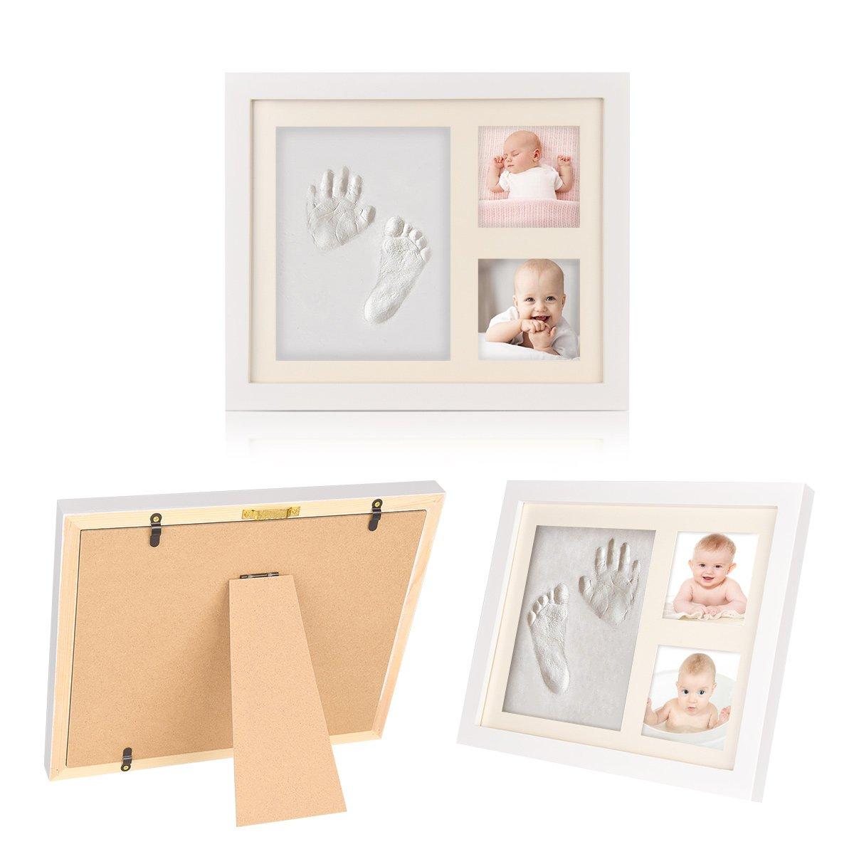 Baby Handprint and Footprint Photo Frame, Toddler Photo Album for Newborn Boys and Girls,Shower Gift Set with Nontoxic Clay Impression Nursery Decor Keepsake Frame(1 Pack) BingoKid