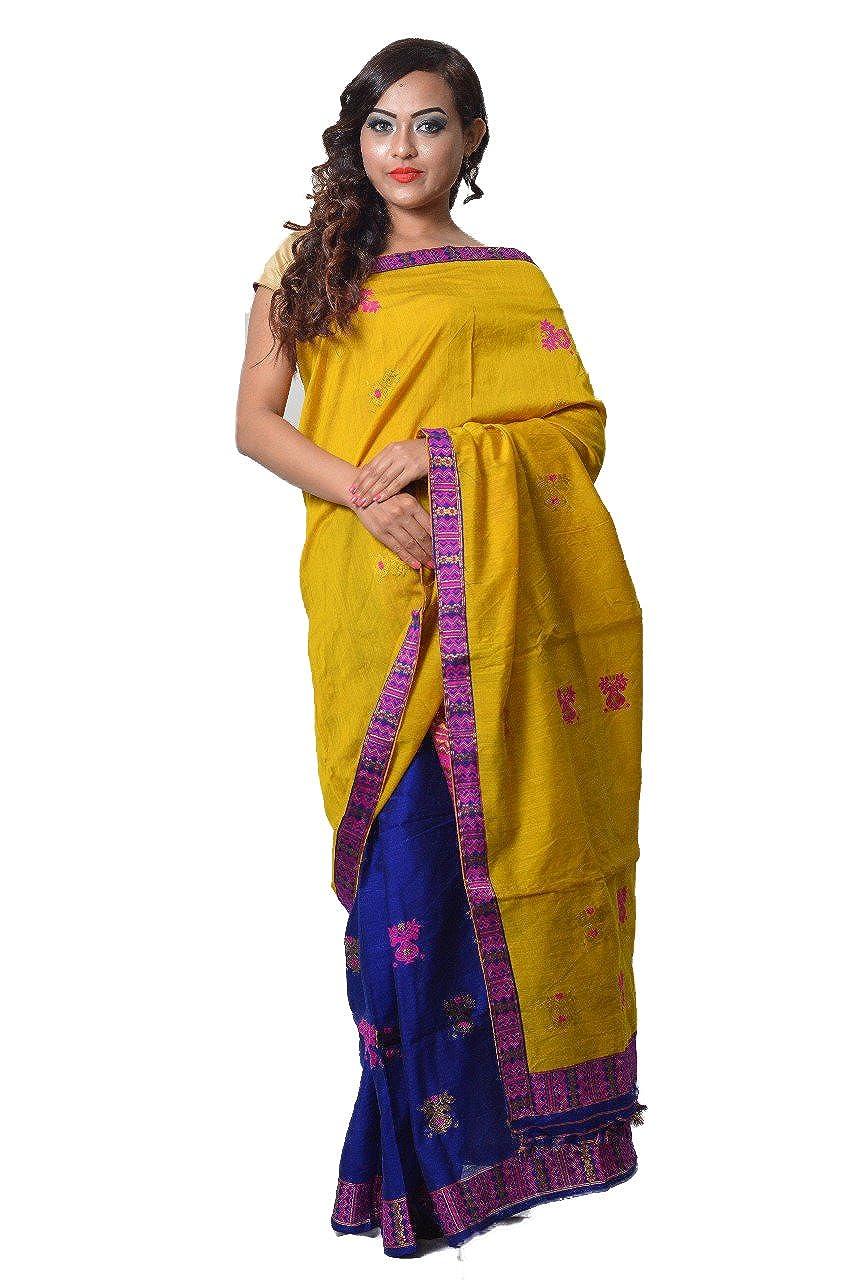 Generic Women's Mayuri Silk Palace Assam Cotton Contrast Mekhela Chador (MS-40, Yellow and Blue, Free Size)