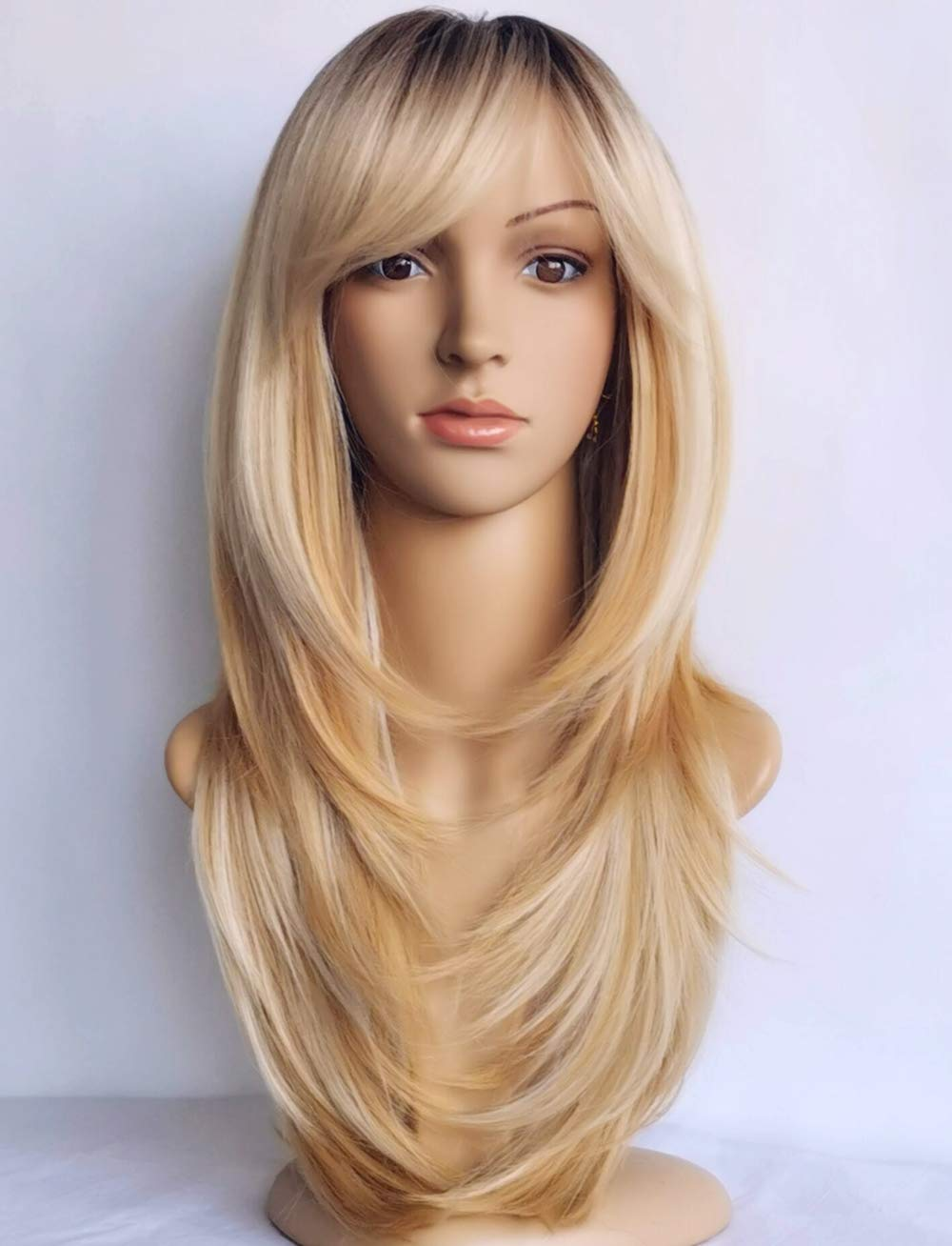 Wigbuy Long Layered Shoulder Length Blonde Synthetic Hair Fiber Highlight Multicolor With Dark Root For Women 1b 27 Buy Online In Aruba At Aruba Desertcart Com Productid 216523578