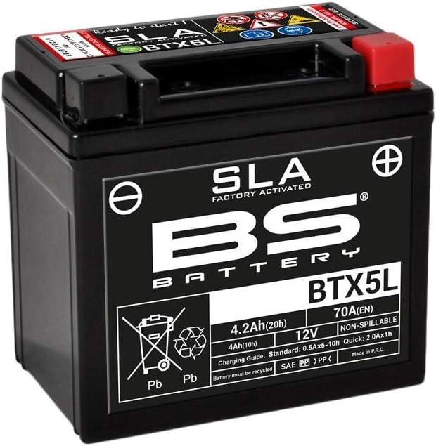 Bs Battery 300670 Btx5l Sla Agm Motorcycle Battery Black Auto