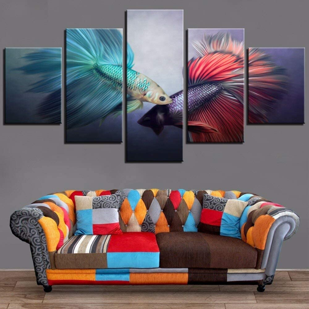 GHHZZQ 5 Pieces Carps Koi Canvas Oil Painting Blue and Red Fishes Posters Animals Pictures Abstract Goldfish Wallpapers Home Decor (Unframed,L)
